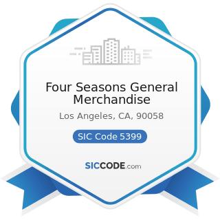 Four Seasons General Merchandise - SIC Code 5399 - Miscellaneous General Merchandise Stores