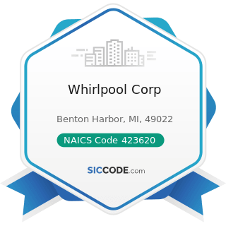 Whirlpool Corp - NAICS Code 423620 - Household Appliances, Electric Housewares, and Consumer Electronics Merchant Wholesalers