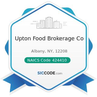 Upton Food Brokerage Co - NAICS Code 424410 - General Line Grocery Merchant Wholesalers