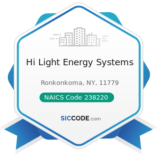 Hi Light Energy Systems - NAICS Code 238220 - Plumbing, Heating, and Air-Conditioning Contractors