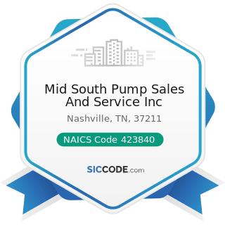 Mid South Pump Sales And Service Inc - NAICS Code 423840 - Industrial Supplies Merchant...