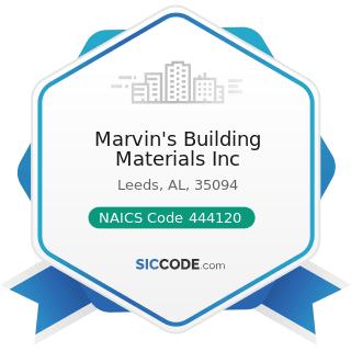 Marvin's Building Materials Inc - NAICS Code 444120 - Paint and Wallpaper Stores