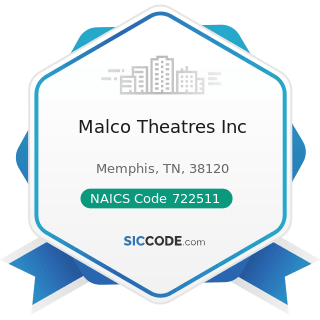 Malco Theatres Inc - NAICS Code 722511 - Full-Service Restaurants