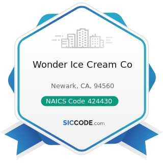 Wonder Ice Cream Co - NAICS Code 424430 - Dairy Product (except Dried or Canned) Merchant...