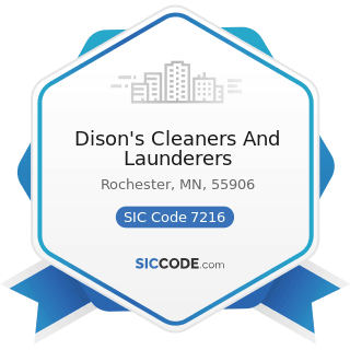Dison's Cleaners And Launderers - SIC Code 7216 - Drycleaning Plants, except Rug Cleaning