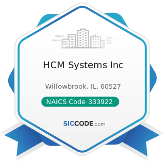 HCM Systems Inc - NAICS Code 333922 - Conveyor and Conveying Equipment Manufacturing