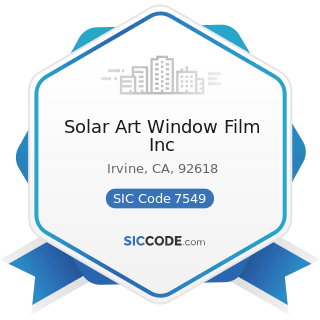 Solar Art Window Film Inc - SIC Code 7549 - Automotive Services, except Repair and Carwashes