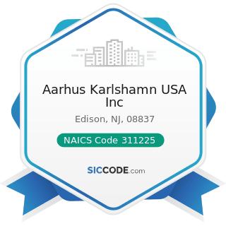 Aarhus Karlshamn USA Inc - NAICS Code 311225 - Fats and Oils Refining and Blending