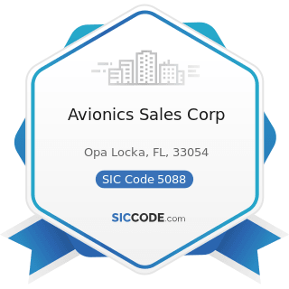 Avionics Sales Corp - SIC Code 5088 - Transportation Equipment and Supplies, except Motor...