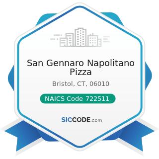 San Gennaro Napolitano Pizza - NAICS Code 722511 - Full-Service Restaurants