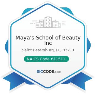 Maya's School of Beauty Inc - NAICS Code 611511 - Cosmetology and Barber Schools