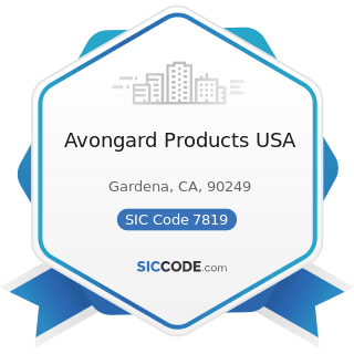 Avongard Products USA - SIC Code 7819 - Services Allied to Motion Picture Production