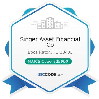 Singer Asset Financial Co - NAICS Code 525990 - Other Financial Vehicles