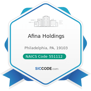 Afina Holdings - NAICS Code 551112 - Offices of Other Holding Companies