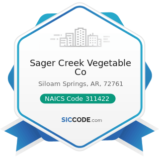 Sager Creek Vegetable Co - NAICS Code 311422 - Specialty Canning