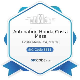 Autonation Honda Costa Mesa - SIC Code 5511 - Motor Vehicle Dealers (New and Used)