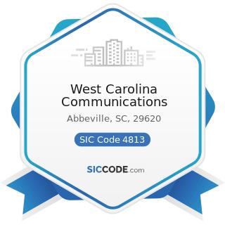 West Carolina Communications - SIC Code 4813 - Telephone Communications, except Radiotelephone