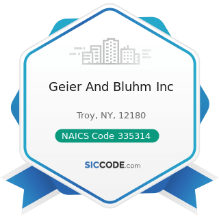 Geier And Bluhm Inc - NAICS Code 335314 - Relay and Industrial Control Manufacturing