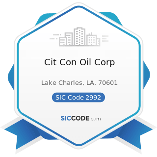Cit Con Oil Corp - SIC Code 2992 - Lubricating Oils and Greases
