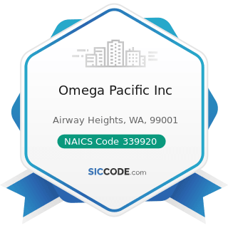Omega Pacific Inc - NAICS Code 339920 - Sporting and Athletic Goods Manufacturing