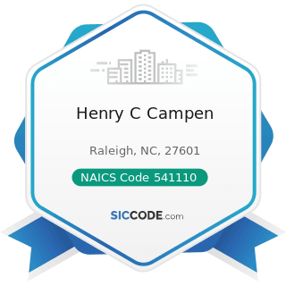 Henry C Campen - NAICS Code 541110 - Offices of Lawyers