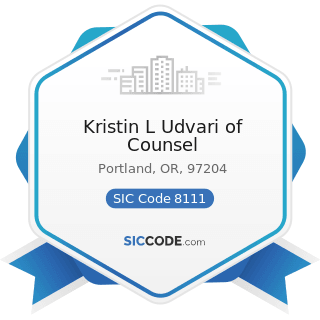 Kristin L Udvari of Counsel - SIC Code 8111 - Legal Services