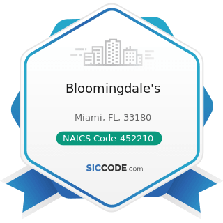 Bloomingdale's - NAICS Code 452210 - Department Stores