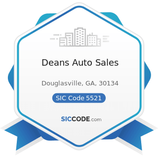 Deans Auto Sales - SIC Code 5521 - Motor Vehicle Dealers (Used Only)