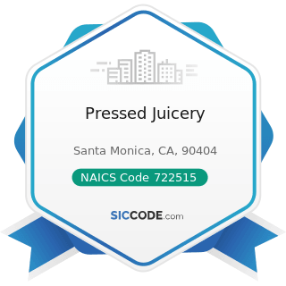 Pressed Juicery - NAICS Code 722515 - Snack and Nonalcoholic Beverage Bars