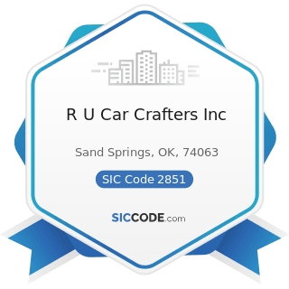 R U Car Crafters Inc - SIC Code 2851 - Paints, Varnishes, Lacquers, Enamels, and Allied Products