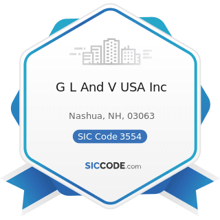 G L And V USA Inc - SIC Code 3554 - Paper Industries Machinery