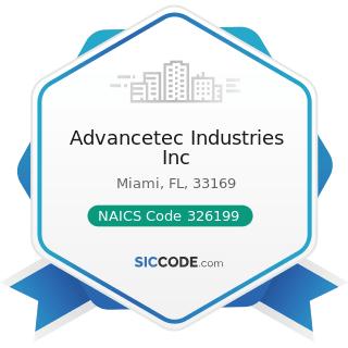 Advancetec Industries Inc - NAICS Code 326199 - All Other Plastics Product Manufacturing