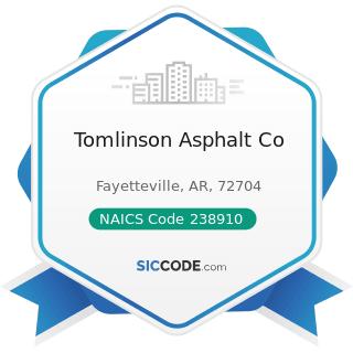 Tomlinson Asphalt Co - NAICS Code 238910 - Site Preparation Contractors