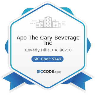 Apo The Cary Beverage Inc - SIC Code 5149 - Groceries and Related Products, Not Elsewhere...