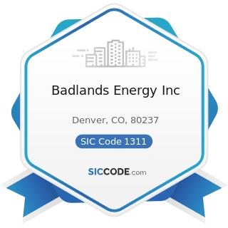 Badlands Energy Inc - SIC Code 1311 - Crude Petroleum and Natural Gas