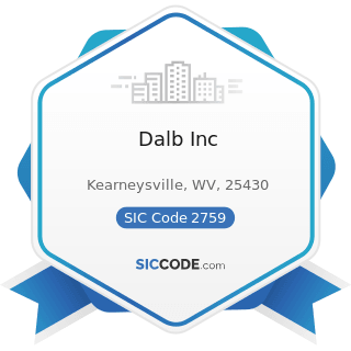 Dalb Inc - SIC Code 2759 - Commercial Printing, Not Elsewhere Classified