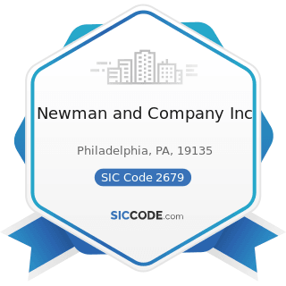 Newman and Company Inc - SIC Code 2679 - Converted Paper and Paperboard Products, Not Elsewhere...