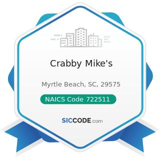 Crabby Mike's - NAICS Code 722511 - Full-Service Restaurants