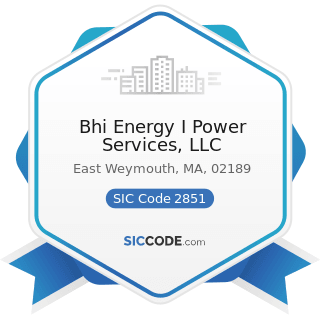 Bhi Energy I Power Services, LLC - SIC Code 2851 - Paints, Varnishes, Lacquers, Enamels, and...