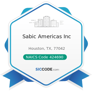 Sabic Americas Inc - NAICS Code 424690 - Other Chemical and Allied Products Merchant Wholesalers