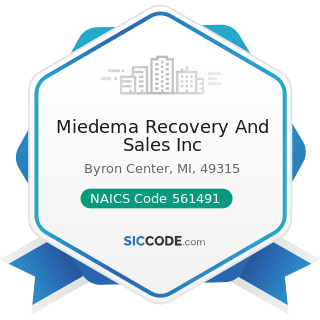 Miedema Recovery And Sales Inc - NAICS Code 561491 - Repossession Services