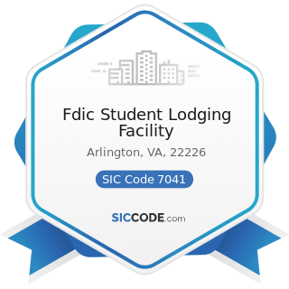 Fdic Student Lodging Facility - SIC Code 7041 - Organization Hotels and Lodging Houses, on...
