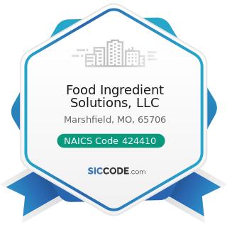 Food Ingredient Solutions, LLC - NAICS Code 424410 - General Line Grocery Merchant Wholesalers