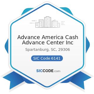 Advance America Cash Advance Center Inc - SIC Code 6141 - Personal Credit Institutions
