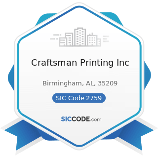 Craftsman Printing Inc - SIC Code 2759 - Commercial Printing, Not Elsewhere Classified