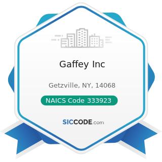 Gaffey Inc - NAICS Code 333923 - Overhead Traveling Crane, Hoist, and Monorail System...
