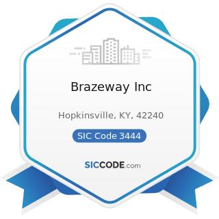 Brazeway Inc - SIC Code 3444 - Sheet Metal Work