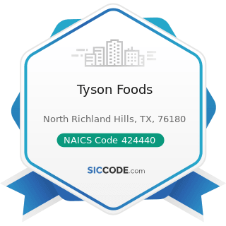 Tyson Foods - NAICS Code 424440 - Poultry and Poultry Product Merchant Wholesalers
