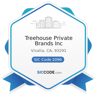 Treehouse Private Brands Inc - SIC Code 2096 - Potato Chips, Corn Chips, and Similar Snacks