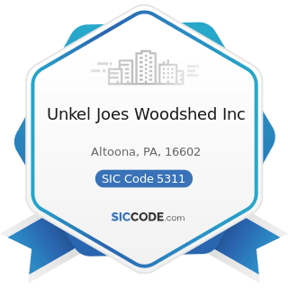 Unkel Joes Woodshed Inc - SIC Code 5311 - Department Stores